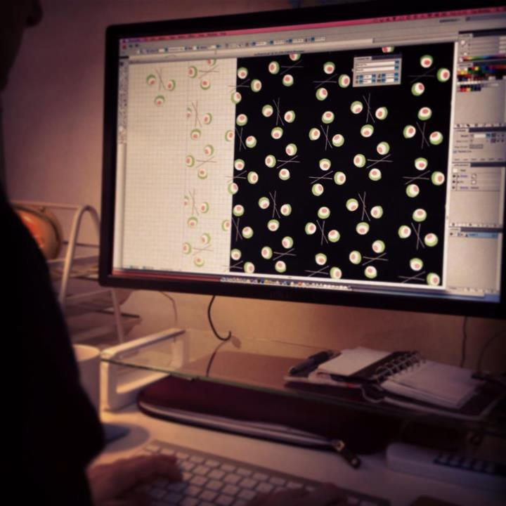 Tom's helping me design sushi-polka-dot print fabric and it's making me hungry!