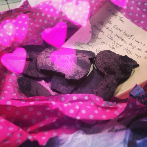 Yum, Jenny Mugridge sent us homemade dark chocolate with ginger pieces!