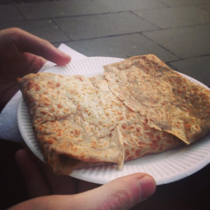 Mushroom, egg & brie crepe from the Grassmarket
